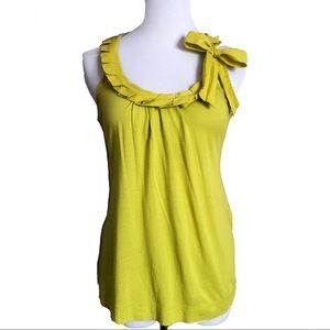 Zara Lime Green Bow Tie Tank Top Blouse